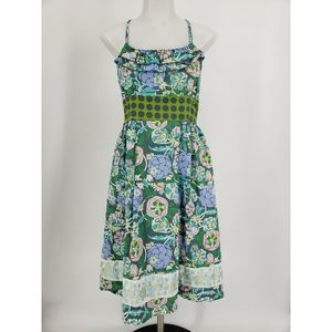 Matilda Jane Blue Floral Sundress Straps Tie Back